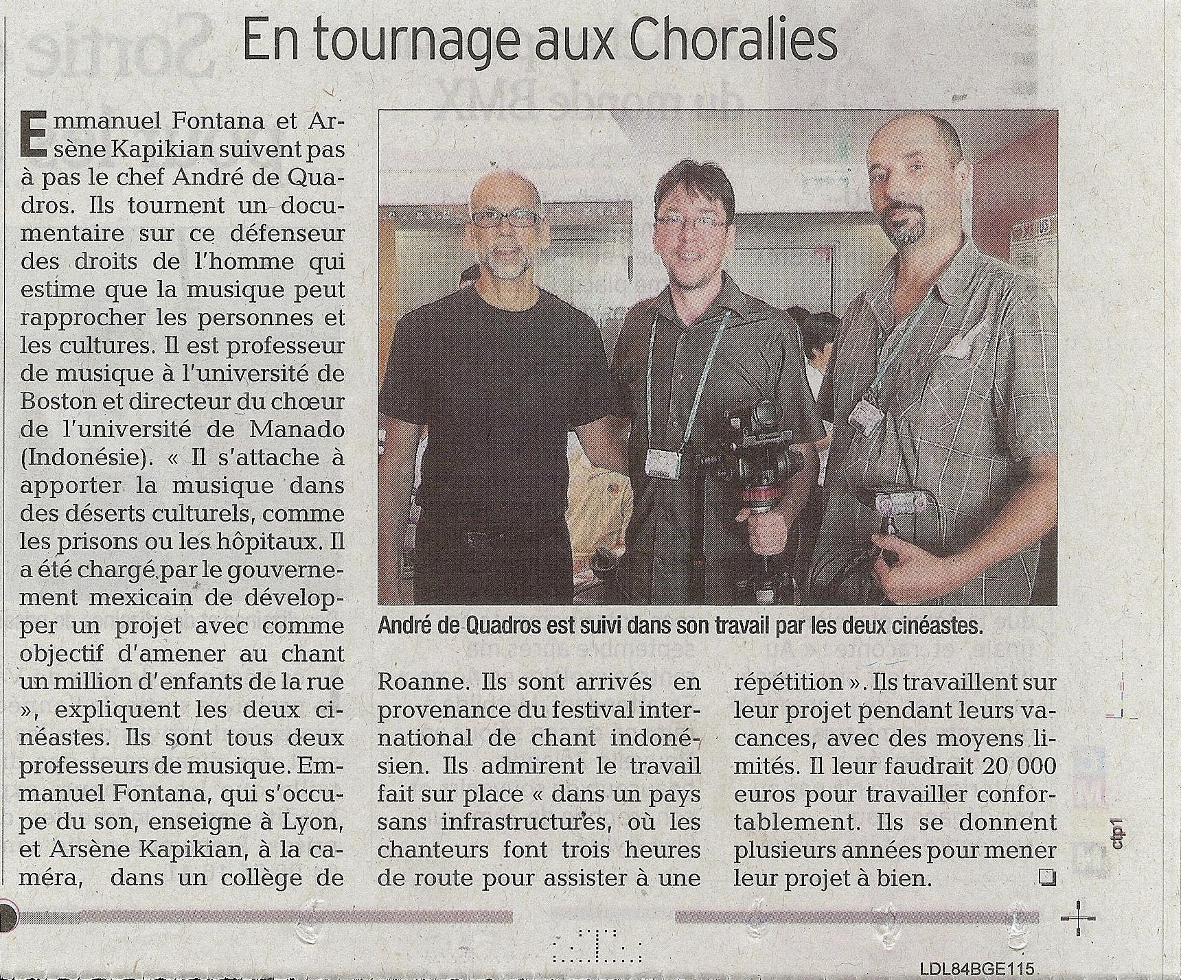 Article du Vaucluse Matin du 10 aout 2013 Les Choralies André de Quadros