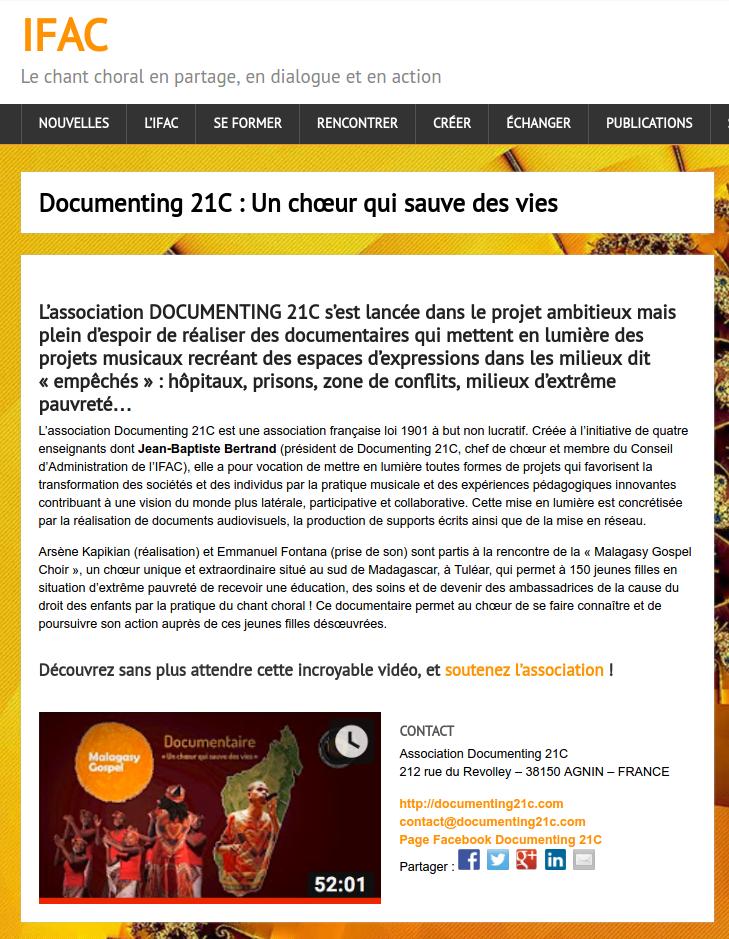 Article en ligne de l'IFAC