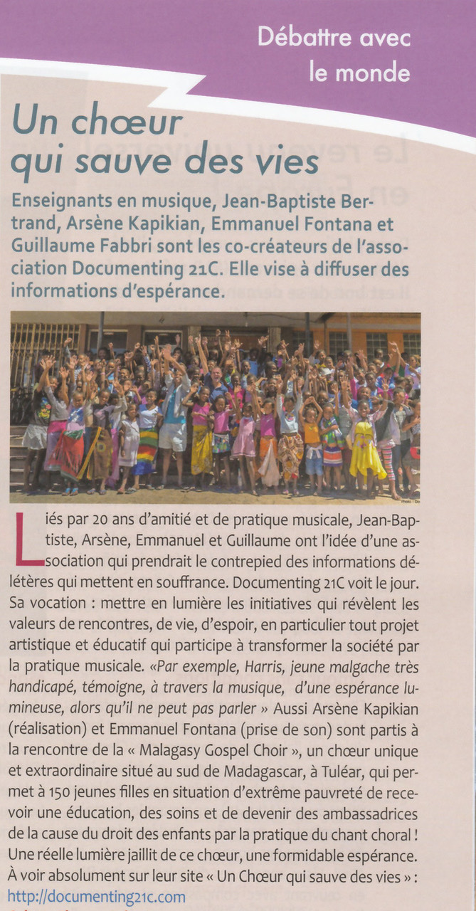 Article journal Ensemble, avril 2017
