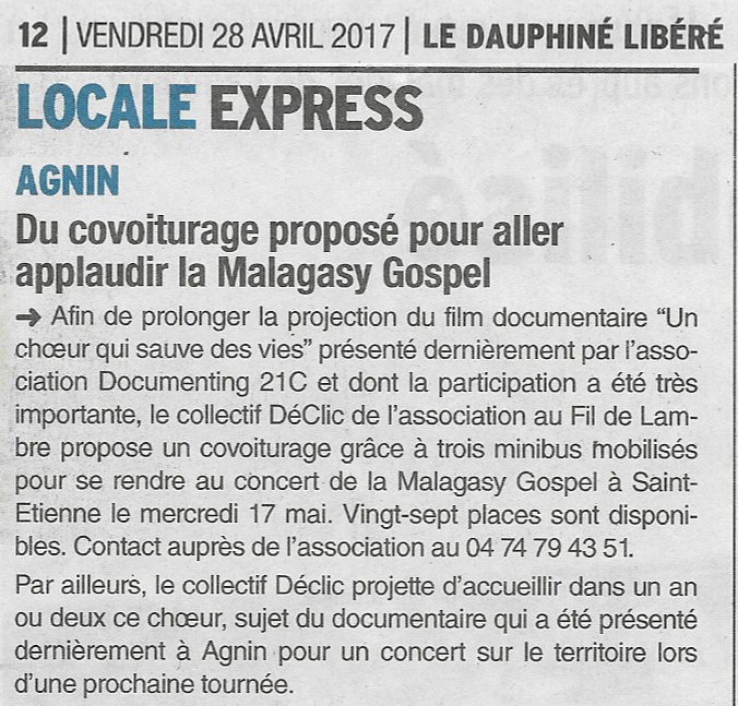 Article du Dauphiné, 28 avril 2017